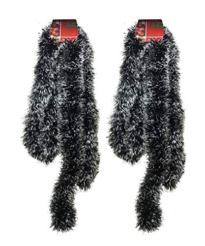 THE UM24 Dark Green with Frosted Snow White Tips Tinsel 8 Foot Garland Christmas 2 Pack