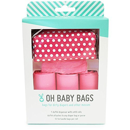 Oh Baby Bags - Diaper Bag Clip-On Dispenser Gift Box with Scented Disposable Bags for Dirty Diapers, Pink Dot Duffle plus 48 Pink Citrus Scented Bags by Oh Baby Bags