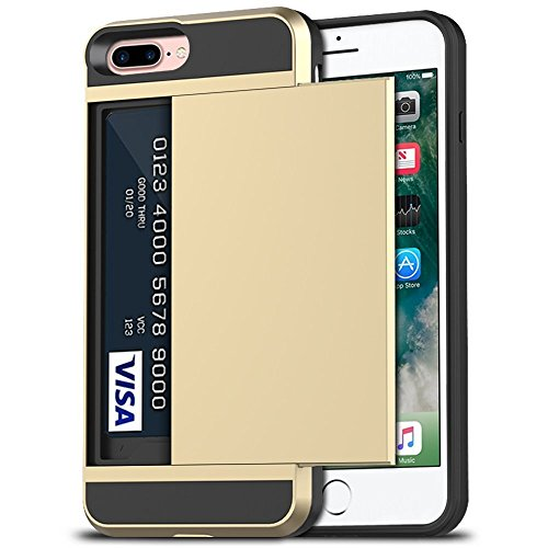 iPhone 7 Plus Case, iPhone 8 Plus Case, Anuck Shockproof iPhone 7/8 Plus Wallet Case [Card Pocket][Slide Cover] Anti-Scratch Protective Shell Armor Rubber Bumper Case with Card Slot Holder - Gold