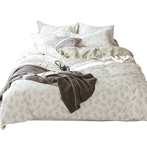 OTOB Casual Leaf Grid Pattern Duvet Cover Queen Full Size Cotton 100 with 2 Pillowcases for Kids Girls Teens Nursery Reversible Gingham Grid Print Bedding Cover Set, Soft, Breathable, Hypoallergenic - Comfortable Grid Pattern