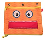 ZipIt Googly 3 Ring Pouch ~ The Scream (Orange Monster; 9.75'' x 8.25''; 2 Zipper Pockets)