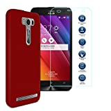 MYLB Clear Back Case Hard Gel Phone Protective Cover Case + Tempered Glass Clear Screen Protector for Asus Zenfone 2 Laser ZE500KL Smartphone (Red)