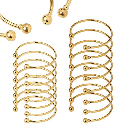 - BENECREAT 16PCS/Set Ball Closure Adjustable Wire Blank Bracelet Expandable Bangle for DIY Jewelry Making, 2.4 Inches - Golden