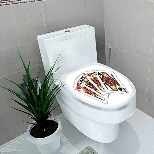(Auraise-home Toilet Seat Decal Vinyl Poker reines Decal Sticker for Toilet Decoration W15 x L17)