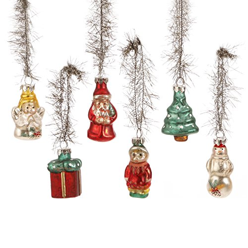 Box of 6 Molded Vintage Glass Christmas Ornaments (Glass Ornaments Old Fashioned)