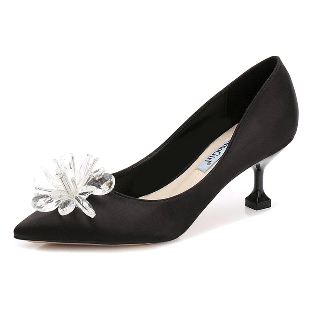 ShanLy Señoras Crystal Flowers Puntiagudos Zapatos De Corte Low Mid Heels Wedding Work Party Zapato Sexy Casual Vintage Para Mujer,Black(6.5CM)-EU38/UK5.5 EU38/UK5.5 Black(6.5CM)
