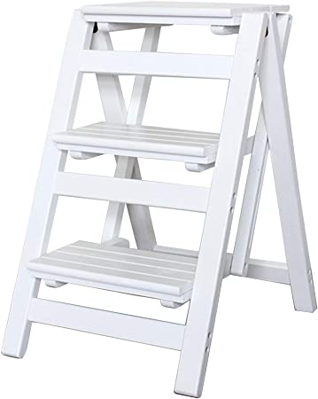 Escalera Plegable de 3 escalones, Escalera de hogar Silla de Comedor Escaleras de Tijera de Madera para niños y Adultos, Herramienta de jardín para el hogar Heavy Duty MAX. 200kg en Blanco: