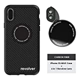 Ztylus Designer Revolver M Series Camera Kit: 6 in 1 Lens + iPhone Xs MAX Case, Smartphone Lens Kit Accessory- 2X Telephoto Lens, Macro/Super Macro Lens, Fisheye/Wide Angle Lens (Black Carbon Fiber)
