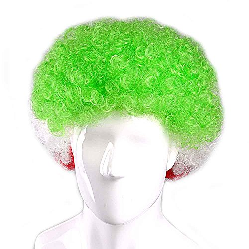 Iran National Team Country Flag Afro Cosplay Party Costume Wig, Adult]()