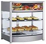 EQ Kitchen Line RTR-107L Commercial Heated Countertop Display Case Cabinet,  Glass, 25.87'' Height, 19.17'' Width, 25.39'' Length, Stainless Steel, Silver