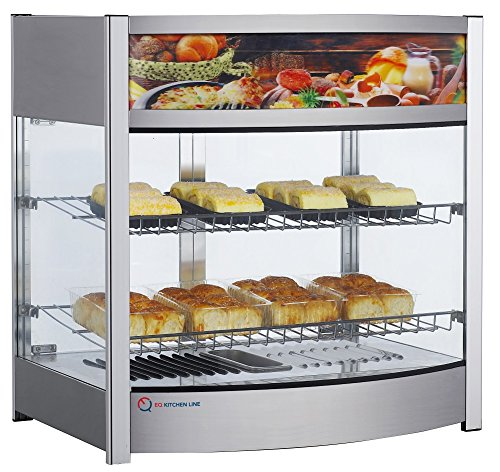 EQ Kitchen Line RTR-107L Commercial Heated Countertop Display Case Cabinet,  Glass, 25.87'' Height, 19.17'' Width, 25.39'' Length, Stainless Steel, Silver by EQ Kitchen Line