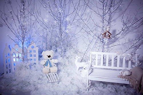 20 x 10 ft Children Fairy Tale Night Background Shiny Ice Frozen Trees Cartoon Teddy Bear Elk White Benches Beautiful Snow Scenery Studio Backdrops Princess Newborn Props Printed