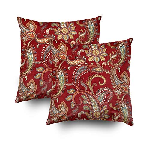 - Shorping Zippered Pillow Covers Pillowcases 18X18Inch 2 Pack red and Gold Paisley Print Lumbar Decorative Throw Pillow Cover Pillow Cases Cushion Cover for Home Sofa Bedding