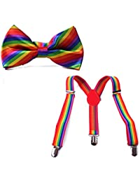 HDE Kid Boys Adjustable Y Back Clip Suspenders Matching...