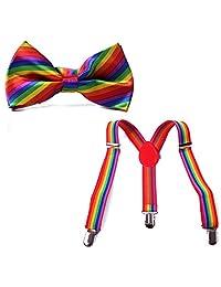 HDE Kid Boys Adjustable Y Back Clip Suspenders Matching Pre Tied Bowtie Set (Rainbow)