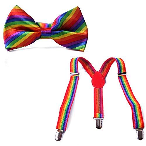 HDE Kid Boys Adjustable Y Back Clip Suspenders Matching Pre Tied Bowtie Set (Rainbow) (Suspenders Rainbow)