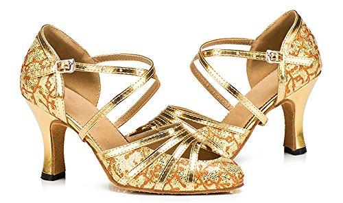 Honeystore Womens Glitter Latin Dance Shoes Criss Cross Strap Mid Heel Party Tango Salsa Pump Wedding Gold SKyybx