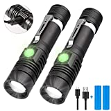 Rechargeable Flashlight, LED Tactical Flashlight, Karrong 1200 Lumens Super Bright Pocket-Sized T6 LED Torch with Clip, Water Resistant, 4 Modes for Camping Hiking Emergency (2 pack)