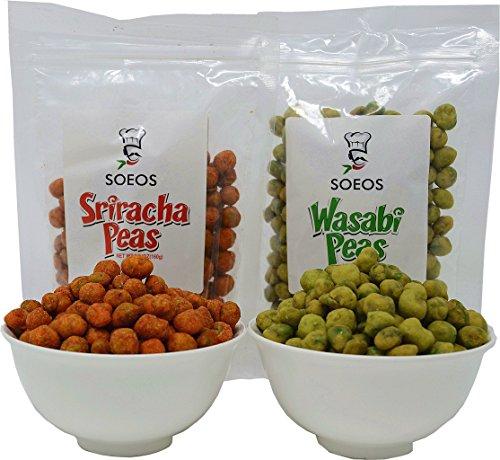 Soeos Wasabi Peas, Wasabi Green Peas, Sriracha Peas, Spicy Snack, 6 PKS (5.64oz6). (3 Pk Wasabi + 3 Pk Sriracha)