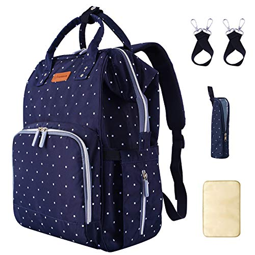 Diaper Bag Backpack with Stroller Straps Insulated Pocket and Changing Pad, Durable Waterproof Large Capacity Multifunction Diaper Bag for Mom for Travel, Stylish Handsfree Nappy Bag- Navy Blue