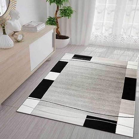 Teppich Kariert Retro Muster Meliert in Grau Weiß Schwarz Schlafzimmer  Wohnzimmer 160x230 cm