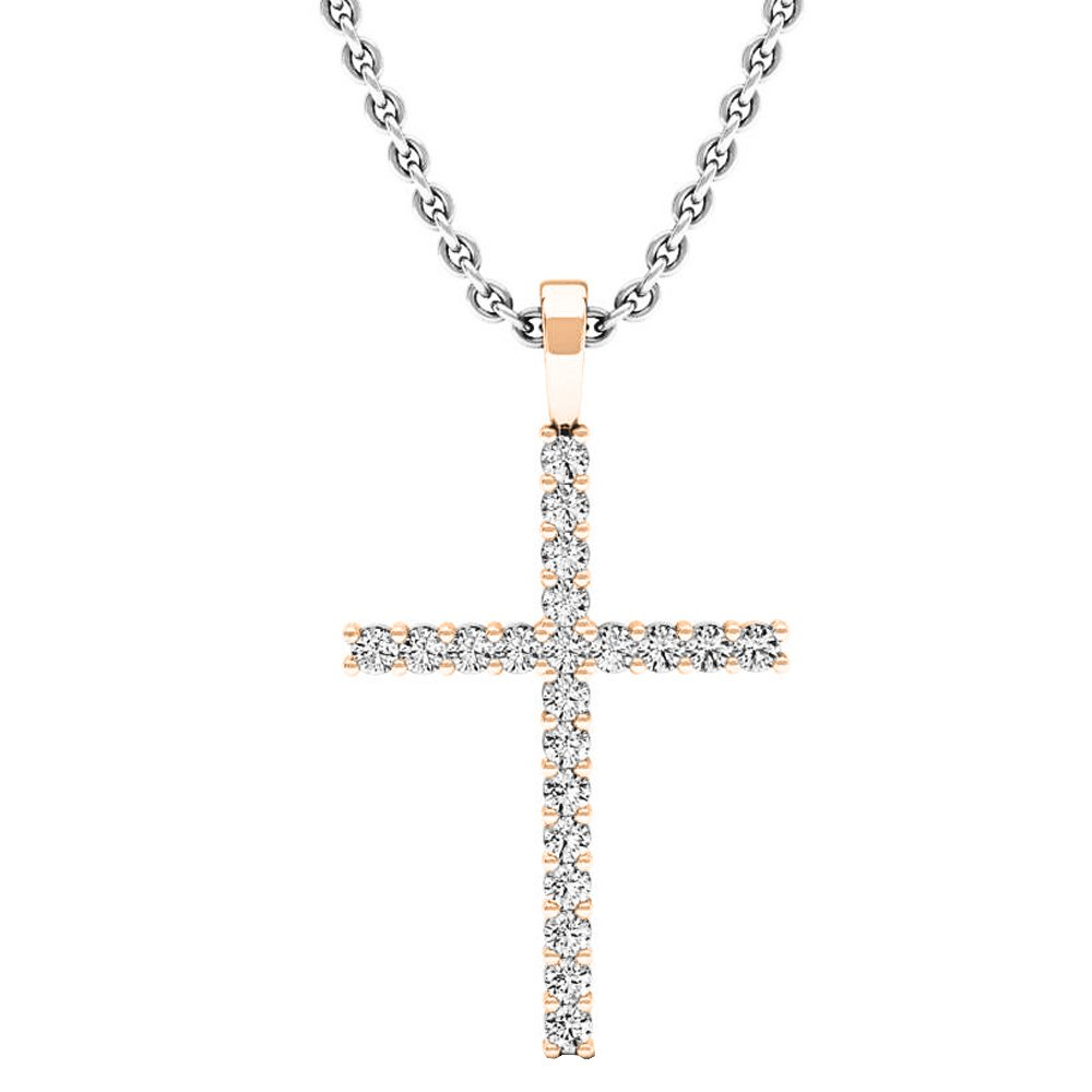 0.30 Carat (ctw) 14K Rose Gold Round Diamond Ladies Cross Pendant 1/3 CT (Silver Chain Included)