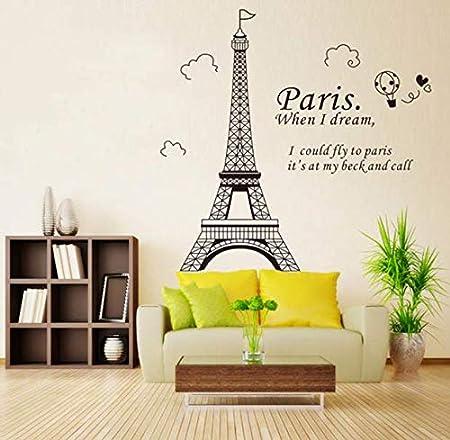Huangshi Stickers Muraux Romantique Paris Tour Stickers