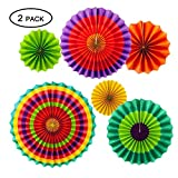 12pcs Colorful Hanging Paper Fans Rosettes Party Decorations Fiesta Party Supplies Mexican Paper Fans for Cinco De Mayo/Carnival/ Kids Party Hanging Decoration Supplies Favors