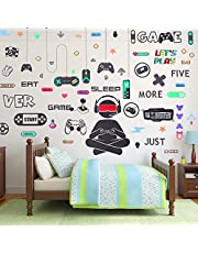 56 Pieces Gamer Wall Decals Gamer Wall Sticker Gaming Controller Joystick Wall Decals Removable Video Games Wall Stickers Game Boy Wall Art for Kids Men Bedroom Playroom Decoration (Black White)