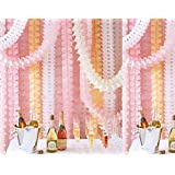 6pcs 10-feet Long Four-Leaf Clover Garland Tissue Paper Flowers, Tissue Paper Garland, Independence Day Decoration Wedding Party Decor Tissue Paper Flowers Kit Garland Craft (pink)