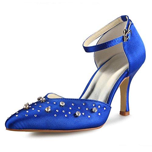En Haut Mariée Jia Mariage De A3136 Femme Chaussures Satin Bleu Pompes Talon Strass Pour Pointu Bout tPPHzqwW