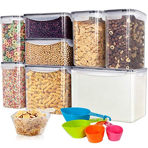 Kitsure Airtight Food Storage Container Set wtih Lids - 8 PC - Leak-proof & BPA Free, Pantry Organization and Storage for Sugar, Flour and Baking Supplies, With 1 Measuring Cup & Spoon Set