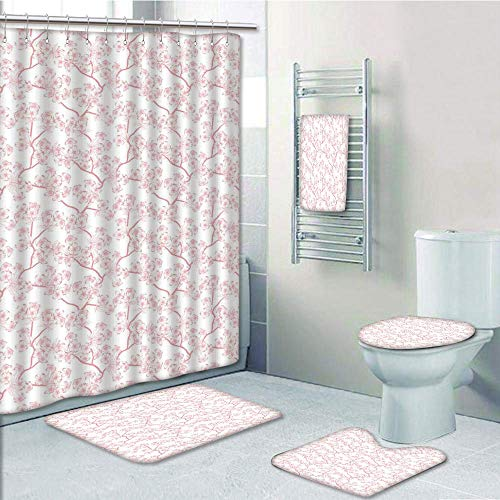 Bathroom 5 Piece Set shower curtain 3d print Multi Style,House Decor,Cherry Blooming Butterflies over Stripes Sunbeams Curvy Lines Ornamental Artwork,Pink Gray,Bath Mat,Bathroom Carpet Rug,Non-Slip,Ba