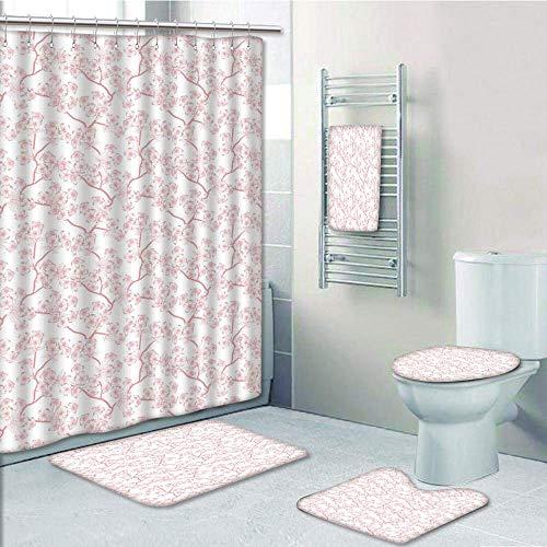 (Bathroom 5 Piece Set shower curtain 3d print Multi Style,House Decor,Cherry Blooming Butterflies over Stripes Sunbeams Curvy Lines Ornamental Artwork,Pink Gray,Bath Mat,Bathroom Carpet Rug,Non-Slip,Ba)