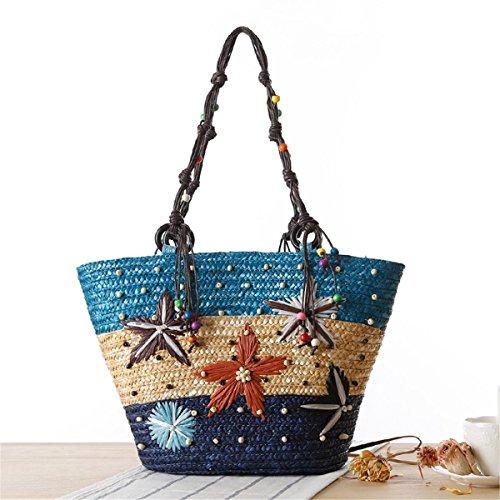 Minghui Jiang Straw Woven Bag Seaside Resort Hawaii bolso hecho a mano bordado Starfish Beach bolso tejido Blue