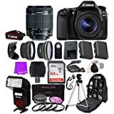 Canon EOS 80D Digital SLR Camera with EF-S 18-55mm f/3.5-5.6 IS STM Zoom Lens & SanDisk 64GB Ultra Class 10 SDHC UHS-I Memory Card and Professional Complete Accessory Bundle (24 Items)