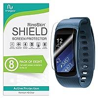 Protector de pantalla RinoGear para Samsung Gear Fit2 [paquete de 8] Gear Fit 2 Case Friendly Protector de pantalla para Samsung Gear Fit2 Accesorio Película transparente de cobertura total