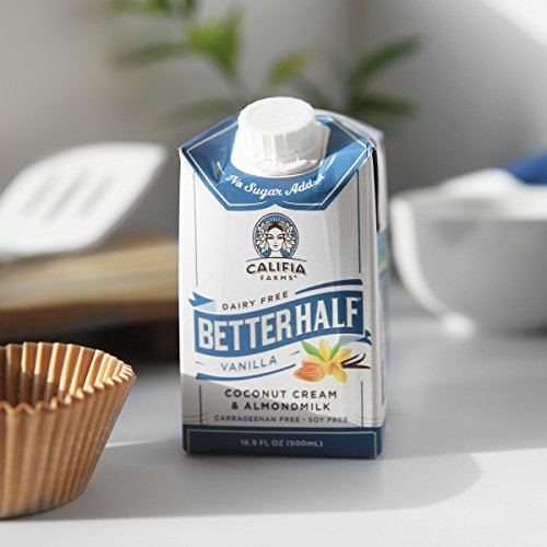 Califia Farms Better Half Coffee Creamer, Coconut Cream and Almondmilk, Half & Half, Dairy Free, Plant Milk, Vegan, Non-GMO, Vanilla, 16.9 Oz (Pack of 6)