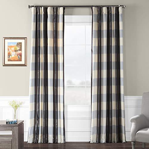 Silk Plaid Drapes (Pts-SLK100-84 Faux Silk Plaid Curtain, 50 x 84, Essex)