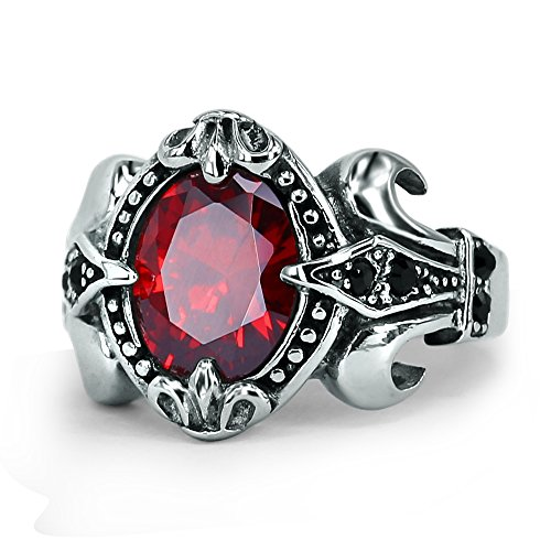 Gothic Mens Rings - Male Stainless Steel Vintage Retro Ring with Oval Red/Black Cubic Zirconia Punk Biker Ring Eye-Catching Ring (Red, 8)