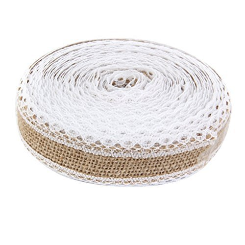 OULII Jute Lace Ribbon Hessian Burlap Craft Ribbon Roll 10M for DIY Crafts Home Wedding Decoration