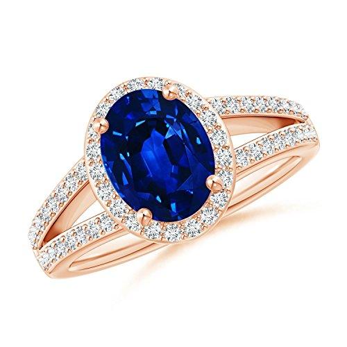 - Oval Blue Sapphire Split Shank Halo Ring in 14K Rose Gold (9x7mm Blue Sapphire)