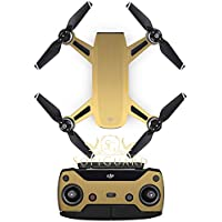 SopiGuard Brushed Gold Fiber Precision Edge-to-Edge Coverage Vinyl Sticker Skin Controller 3 x Battery Wraps for DJI Spark