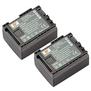 DSTE® 2x BP-808 Recargable Li-ion Batería para Canon FS10, FS11, FS100, FS21, FS22, FS200, FS31, FS300 Cámara como BP-809 BP-819 BP-827 BP-827(T)