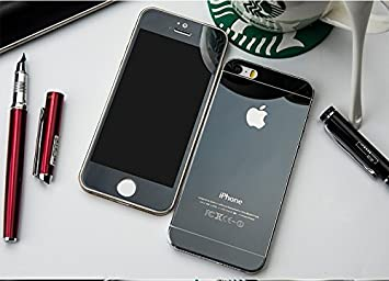 ShopAIS Iphone 5/5s Black - Electroplated/Electroplating Mirror Front +  Back Tempered Glass Screen Protector - We offer a Transperent Utra-Thin  Back