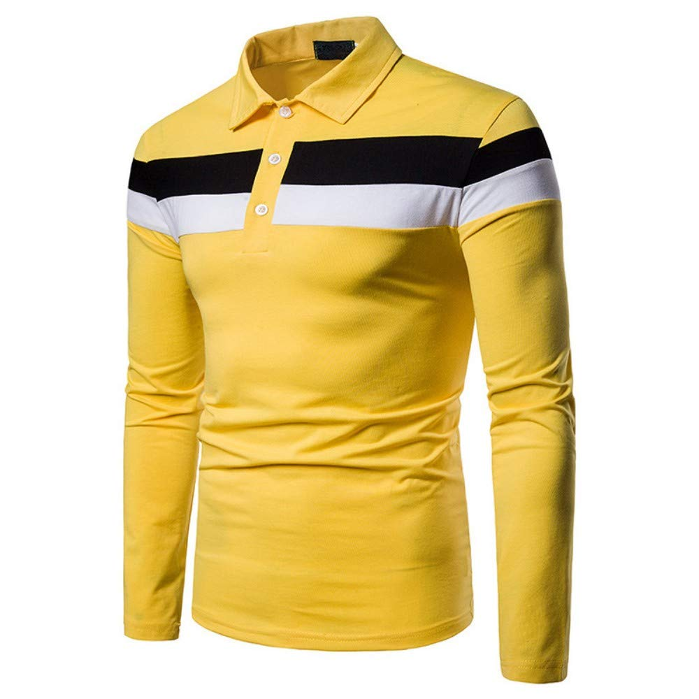 NISHIPANGZI Patchwork Stripe Polo Shirt Hommes Manches Longues Slim Fit Polo Shirts Hommes Travail Affaires Yellow