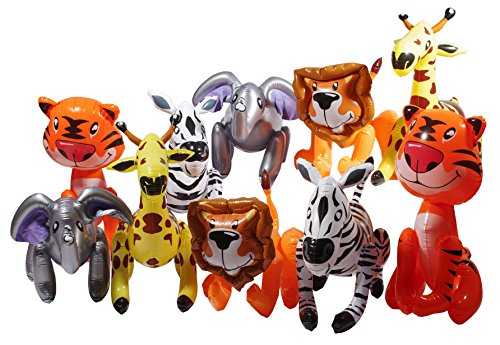 Inflatable Zoo Animals, Party Guests Jungle Safari Includes Tigers, Lions, Zebras, Elephants, Giraffes. Great Party Decorations And Party Giveaways (Pack of 12).