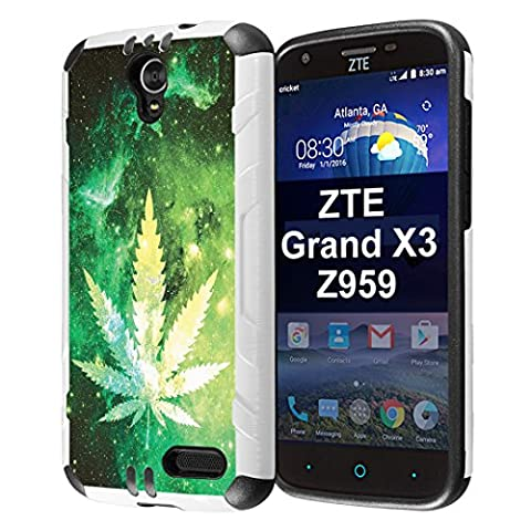 ZTE ZMAX Grand Case, ZTE ZMAX Champ Case, ZTE ZMAX 3 Case, ZTE AVID 916 Case, ZTE Warp 7 Case, ZTE Grand X3 Case, Capsule-Case Slim Defender Combat Case White Black - (Space Leaf (Zte Zmax Phone Case Marijuana)