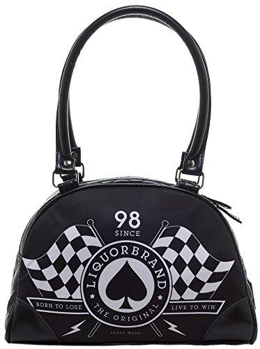 Liquor Brand Race Flags Black White Faux Leather Small Bowling Bag Purse
