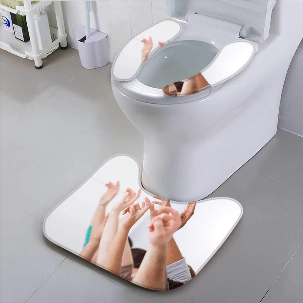Jiahonghome Use The Toilet seat Row of multiethnic College Students raiss in Classroom Non-Slip